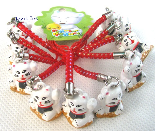 red lucky cat ring white