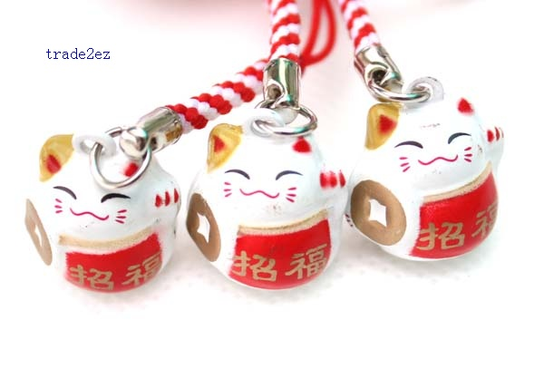 red white lucky cat ring
