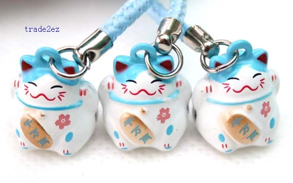 blue white ring bell lucky cat