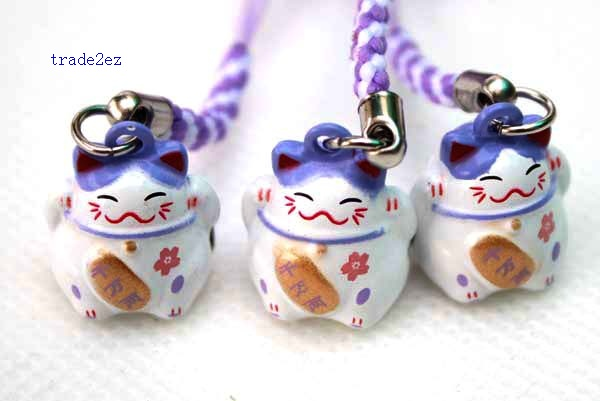 purple white lucky cat