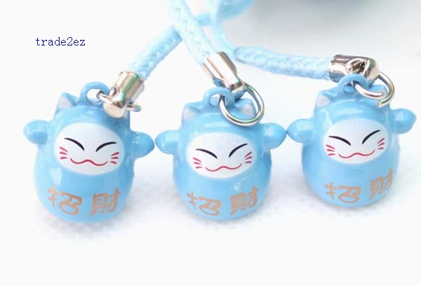 blue ring bell lucky cat
