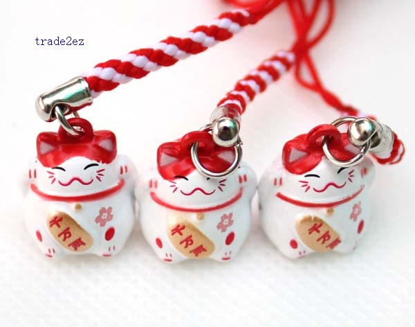 red white lucky cat ring bell starp