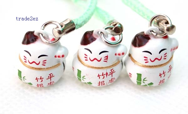 Bamboo safety lucky cat ring bell