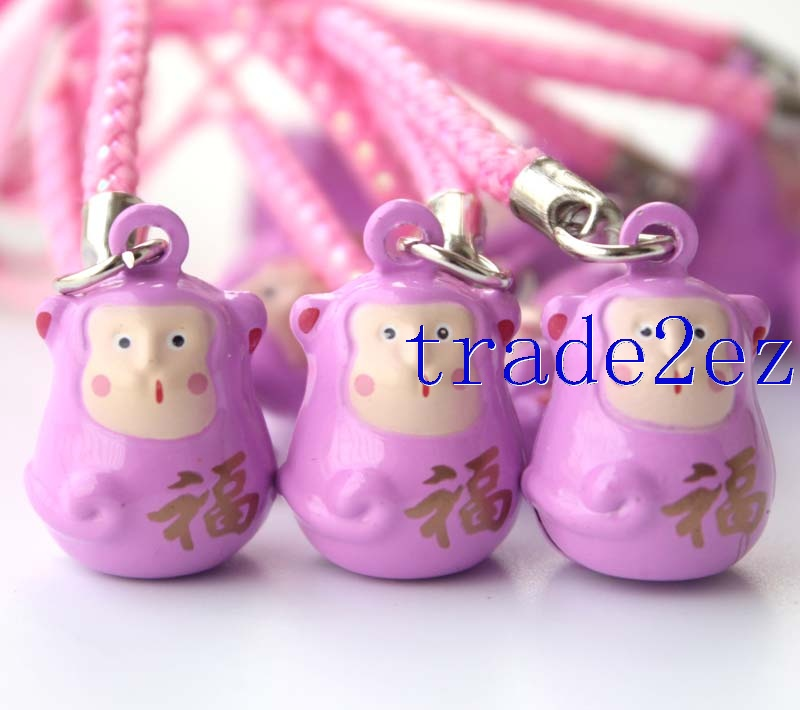 Fu word Monkey Strap & Bell Charms