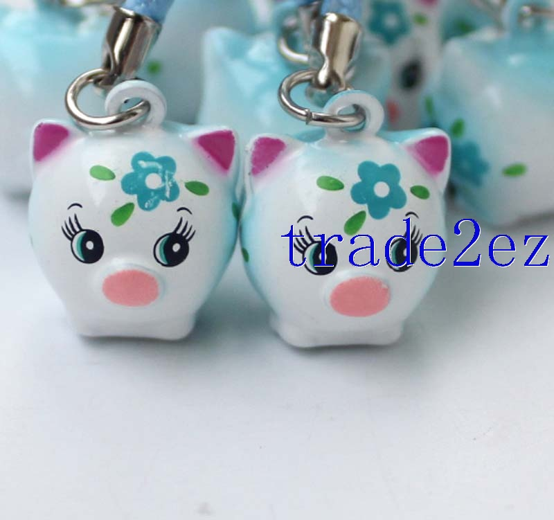 Lovely Flower Pig cartoon Strap & Bell Charms