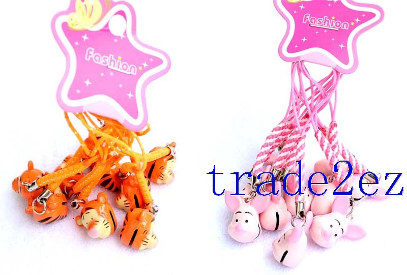 Disney Character Piglet / Tigger Strap & Bell Charms Orange/Pink