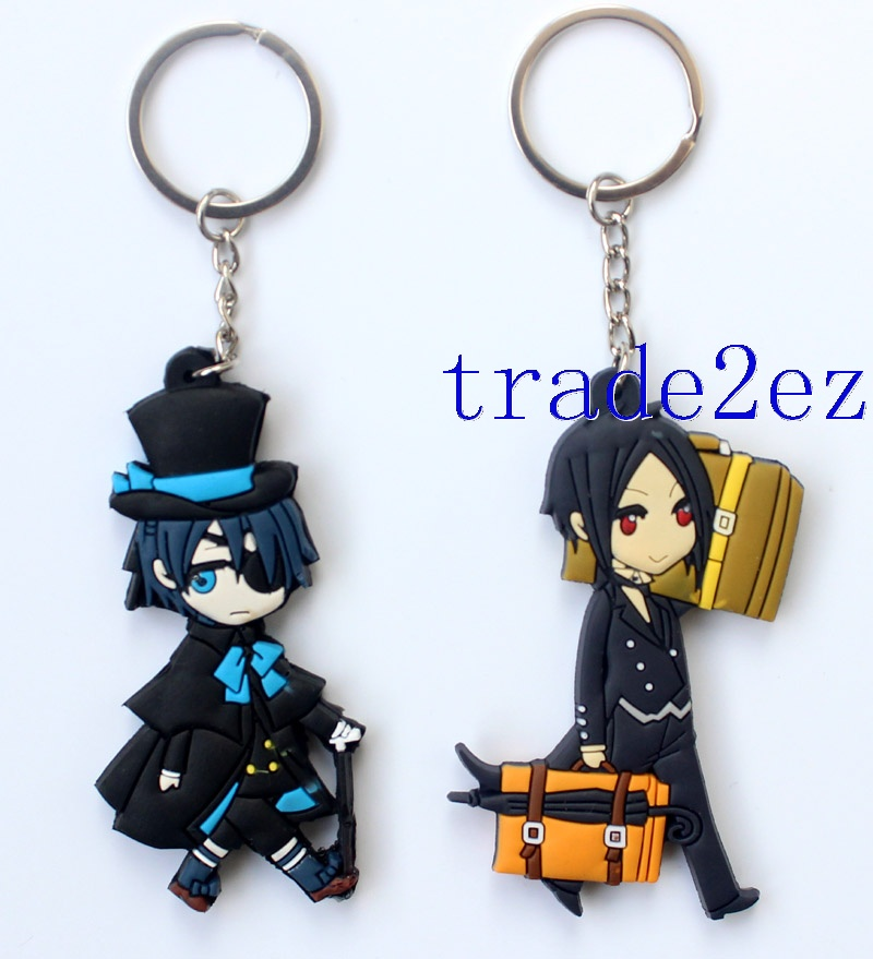 Anime Black Butler Sebastian Double sided PVC Keychains