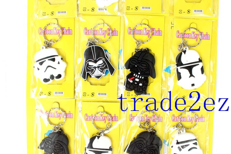 Movie Star Wars Double sided PVC Key Chain Black/White