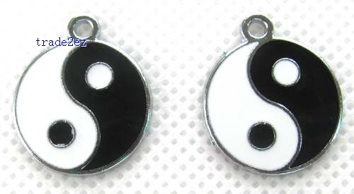 Yin and Yang fish Jewelry Making Metal Charm pendants