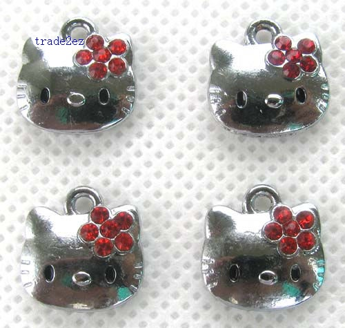 Hello Kitty With Flower Jewelry Making Metal Charm pendants