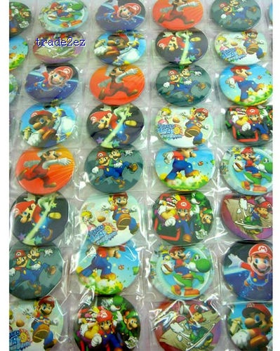 Super Mario 4.5 cm Badges Pins BIG SALES Kids Party Gift RANDOM