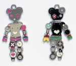 Cartoon Gear Machine Bear Metal Pendants