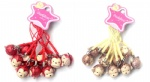 Cartoon Animal Scrub Design Monkey Head Strap & Bell Charms White Red/Gold