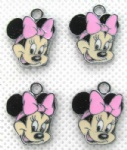 Mnnie Mouse Pink Metal Charms Earrings Pendants Jewellery Making